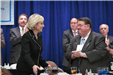 Lt. Gov. Kim Guadagno applauded by Mayor Chuck Chiarello at the League Luncheon