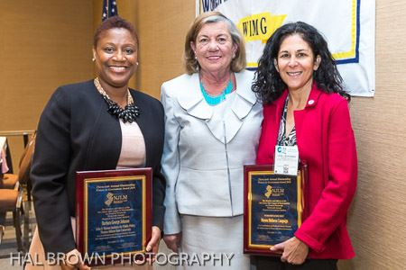 WIMG Award recipients Barbara George Johnson and Linda Schwimmer with Mayor Suzanne Walter