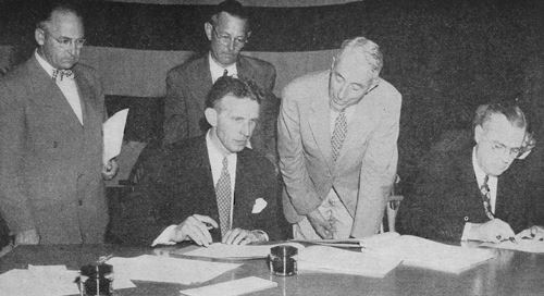Governor Alfred E. Driscoll signing the proposed Constitution
