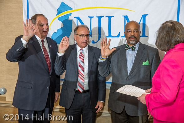Mayors Joe Tempesta, Jim Cassella, and Al Kelly are sworn in as NJLM Officers by President Suzanne Walters