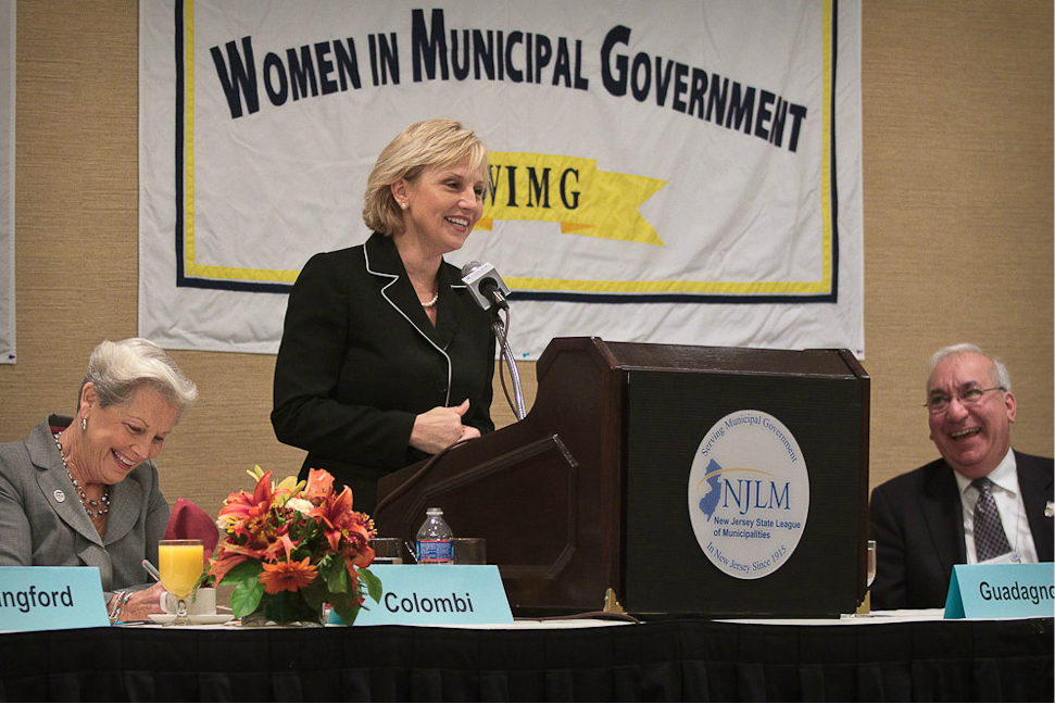 Lt. Gov Kim Guadagno addresses the Women in Municipal Government breakfast with Mayors Colombi (l) and Anzaldi looking on