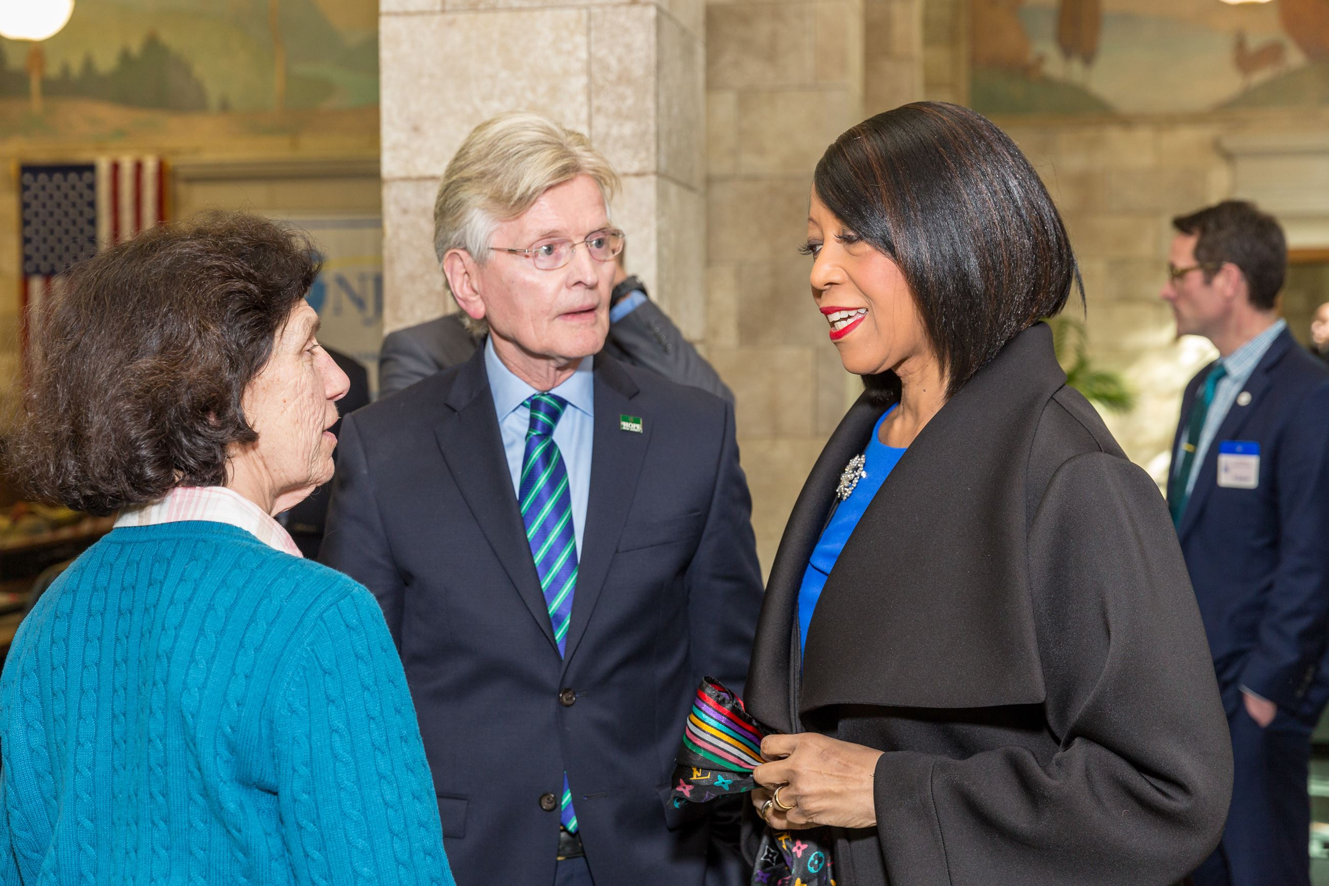 Mayors Janice Mironov, East Windsor, and Tim McDonough, Hope, with Lt. Gov. Sheila Oliver