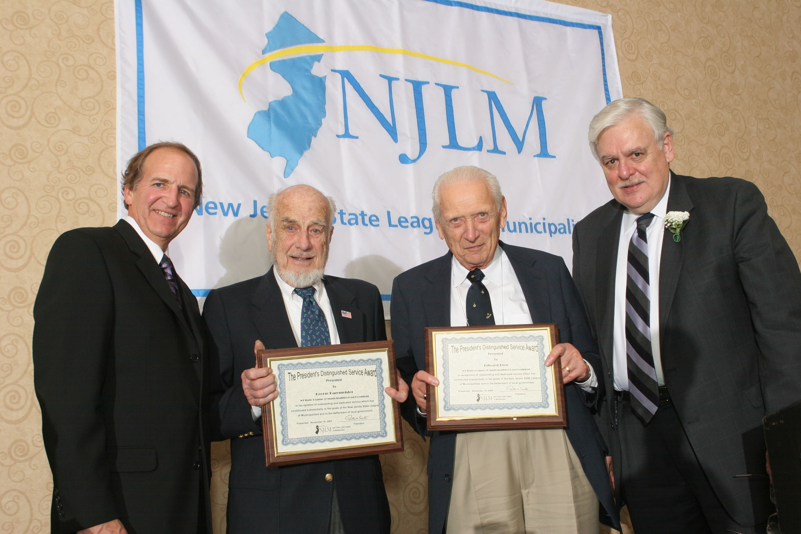 NJLM's Dressel and Mayor Cantu flank President's Distinguished Service Award winners George Ha