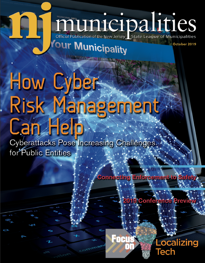 Cover image for October 2019 issue of NJ Municipalities magazine with hand coming out of computer